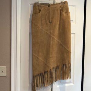 Long fringe suede skirt, Margaret Godfrey, size 6